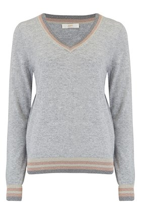 Jeff Knitwear Chance Multi Stripe Jumper in Grey