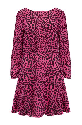 Rixo Kyla Dress in Pink Leopard
