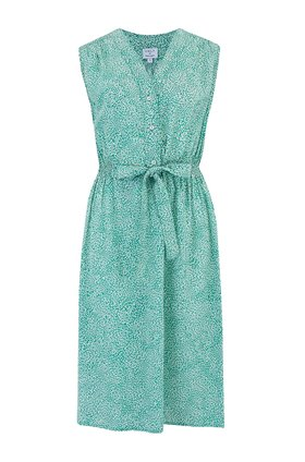 pippa sleeveless dress in green seedburst