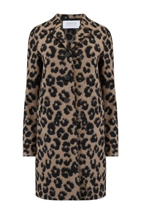 Harris Wharf London Boxy Coat in Leopard Jacquard Tan