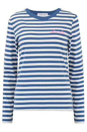 Maison Labiche Dolce Vita Stripe Long Sleeve Tee in Blue and White Stripe