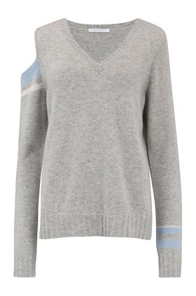 Duffy Shoulder and Cuff and Coloured Jumper in Grey
