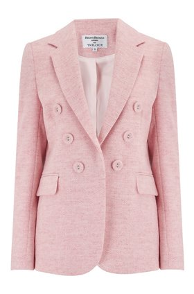 Helene Berman Double Breasted Blazer in Pale Pink