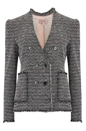 Tailored by Rebecca Taylor  Suit Jacket in Static Tweed Black