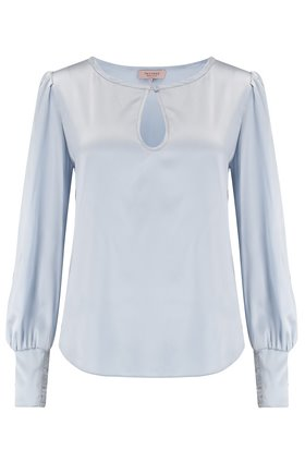long sleeve charmeuse top in cloud