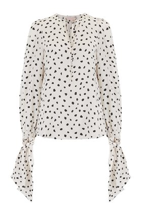 Rebecca Taylor Long Sleeve Dot Tie Top in Snow