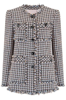 Rebecca Taylor Houndstooth Tweed Jacket in Robins Egg Combo