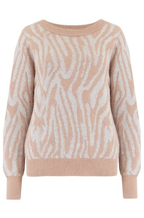 Rebecca Taylor Tiger Stripe Jumper in Grey/Camel