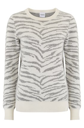 Madeleine Thompson Doc Zebra Jumper in Grey and Cream