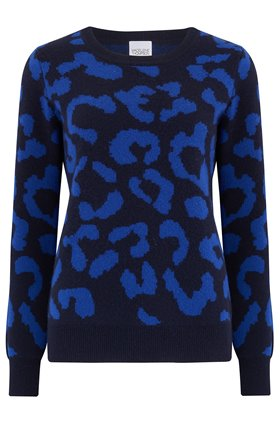 Madeleine Thompson Grumpy Leopard Jumper in Blue