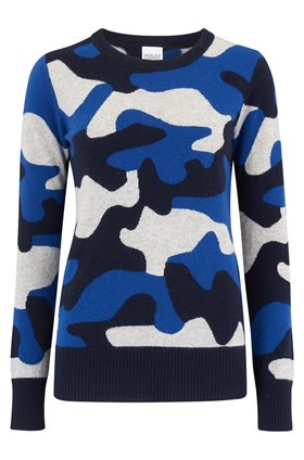 Madeleine Thompson Cassim Camo Jumper in Blue