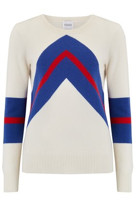 Madeleine Thompson Timothy Mountain Stripe Jumper in Cream/Blue/Red
