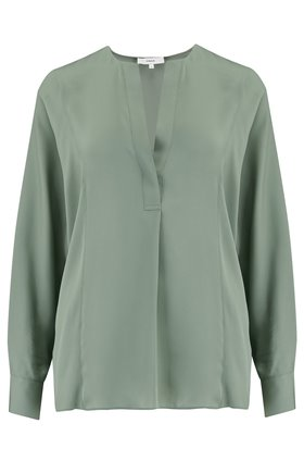 Vince Half Placket Blouse in Sage Flint