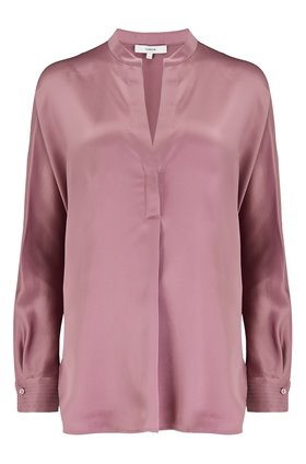 Vince Band Collar Blouse in Amarena