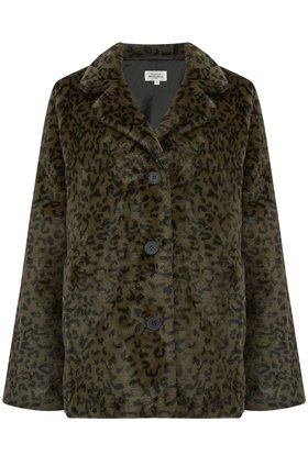 Hartford Vintage Faux Fur Coat in Leopard Khaki