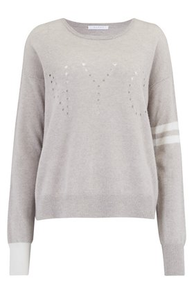 Duffy STRIPED NYC JUMPER IN AGATE HEATHER AND IVORY