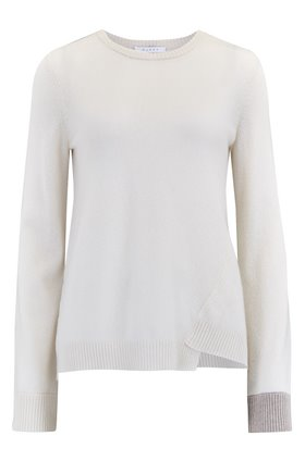Duffy CONTRAST CUFF JUMPER IN IVORY AND AGATE HEATHER