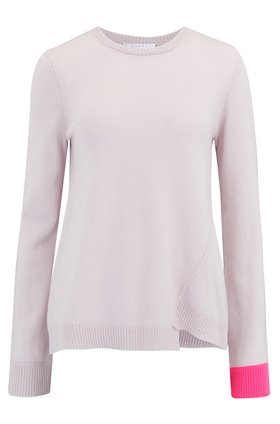 Duffy CONTRAST CUFF JUMPER IN FOUNDATION AND NEON PINK