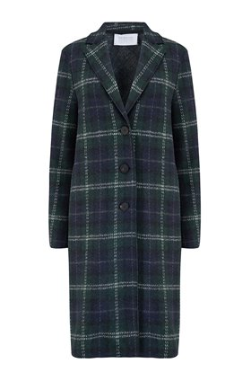 Harris Wharf London Overcoat Tartan in Green