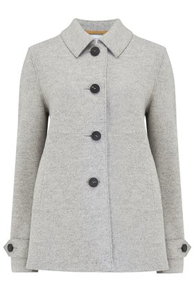 loden coat in ash grey mouline
