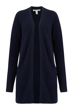 Autumn Cashmere Cashmere Blends Shaker Open Cardigan Exclusive in Peacoat