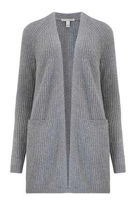 Autumn Cashmere Cashmere Blends Shaker Open Cardigan Exclusive in Nickel