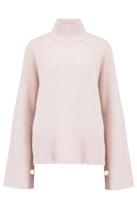 Autumn Cashmere Cashmere Boxy Mock W Buttoned Sleeves Jumper in Pink Opal