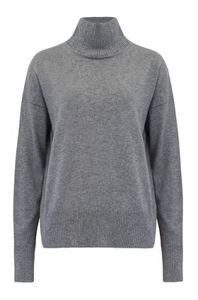 Autumn Cashmere Cashmere Relaxed  Mock Neck W Cuff Detail Jumper in Cement