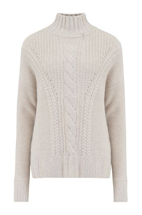 Autumn Cashmere Cashmere Mock Neck W Cable Stitch Jumper in Mojave