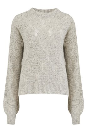 Autumn Cashmere Cashmere Bishop Sleeve Diamond Stitch Mock Jumper in Pebble