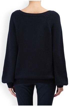 Autumn Cashmere Cashmere Blends Bishop Sleeve Mixed Stitch V Jumper in Peacoat