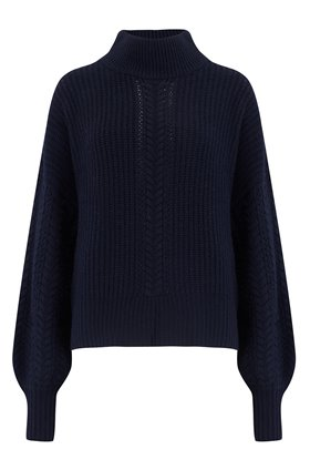 Autumn Cashmere Cashmere Blends Cable Sleeve Mock Jumper in Peacoat
