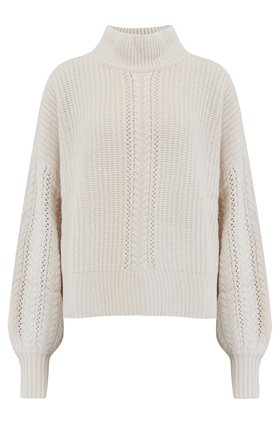 Autumn Cashmere Cashmere Blends Cable Sleeve Mock Jumper in Cream