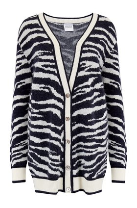 Madeleine Thompson Wally Cardigan in Navy and Cream Zebra