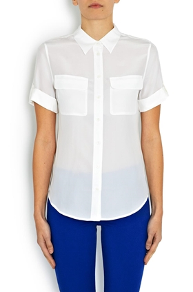 Equipment Short Sleeve Slim Signature Shirt in White