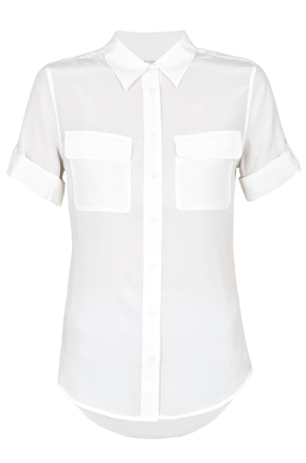 Short Sleeve Slim Signature Shirt in White