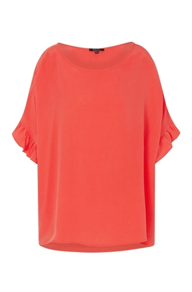 Toupy Fire Ruffle Blouse in Orange Fluoro