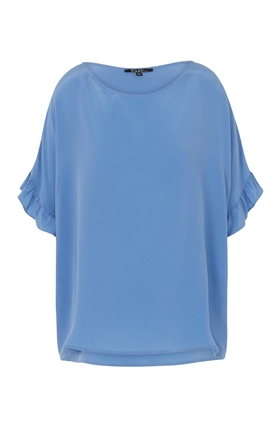 Fire Ruffle Blouse in Celeste Blue