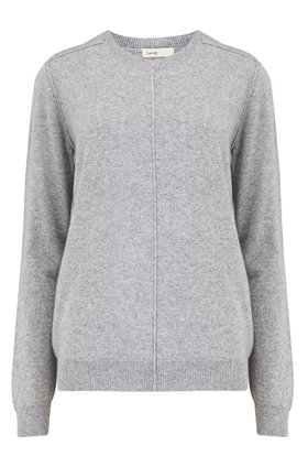 cashmere crew in heather grey