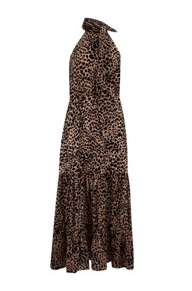 Rixo ELEANOR HALTER DRESS IN LEOPARD