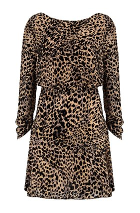 Rixo CLARISSE DRESS IN LEOPARD