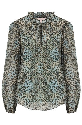 Rebecca Taylor LEOPARD LONG SLEEVE SILK TOP