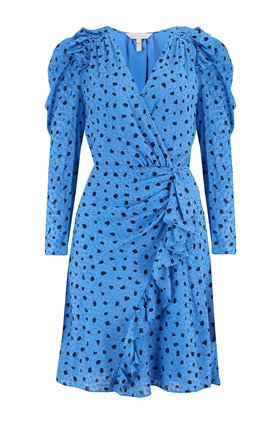 Rebecca Taylor LONG SLEEVE DOT WRAP DRESS IN TRUE BLUE