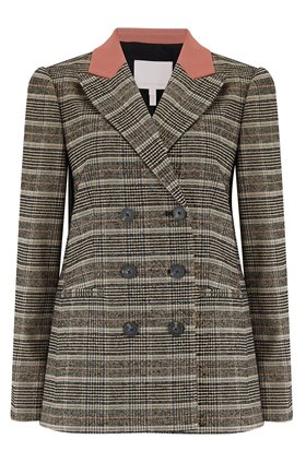 Rebecca Taylor BOUCLE PLAID JACKET in SAND
