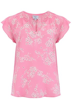 Trilogy Clothing Mia Cap Sleeve Top in Pink