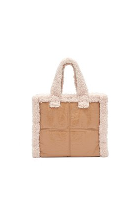 Stand  Lolita Faux Shearling Bag in Beige