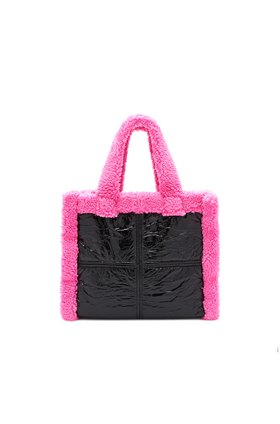 Stand  Lolita Faux Shearling Bag in Black / Bubblegum