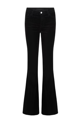 valentina high rise flare in black velvet
