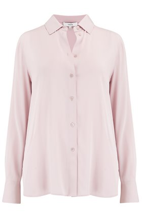 Vince Satin Slim Fitted Blouse in Rose