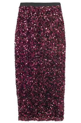 Rebecca Taylor STRETCH SEQUIN SKIRT IN PLUM